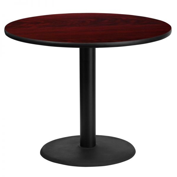 Flash Furniture 36'' Round Mahogany Laminate Table Top with 24'' Round Table Height Base