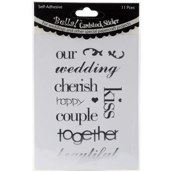 Bella! Wedding Words Cardstock Stickers 11/Pkg