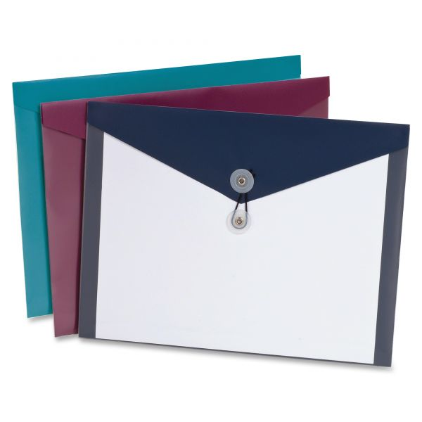 Pendaflex Poly Booklet Envelope, Side Opening, 12 1/2 x 9 1/4, 3 Colors, 4/Pack