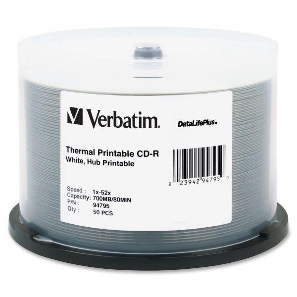 Verbatim Printable CD-R Discs, 700MB/80min, 52x, Spindle, White, 50/Pack
