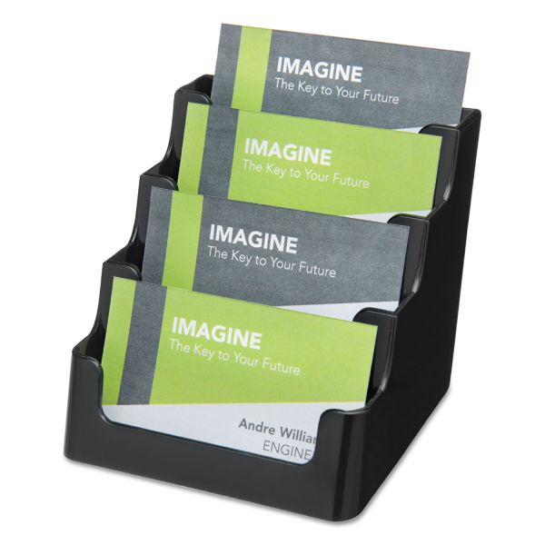 deflecto Recycled Business Card Holder, Holds 200 2 x 3 1/2 Cards, Four-Pocket, Black