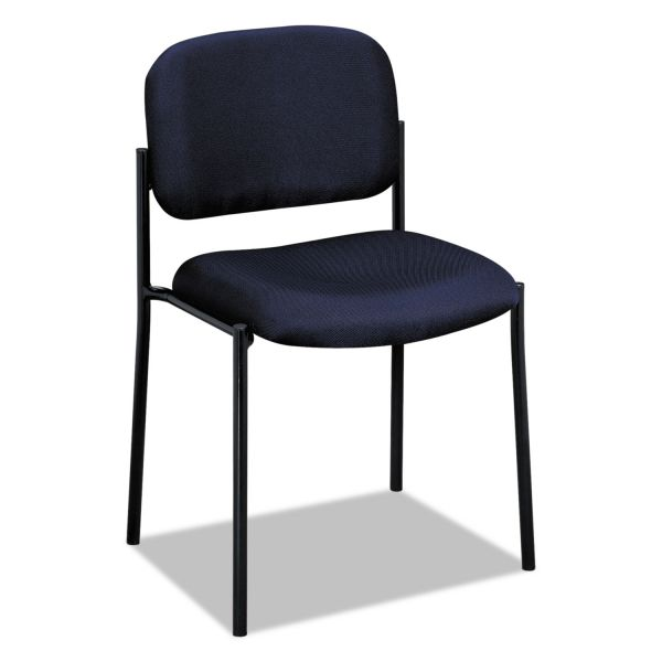 HON VL606 Series Stacking Armless Guest Chair, Navy Fabric