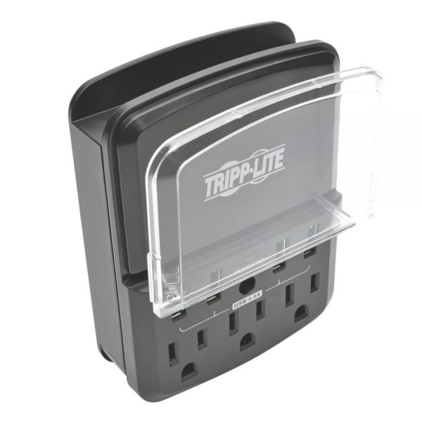 Tripp Lite 4-Port Wallmount USB Charging Station w 3 Outlet Surge Protector
