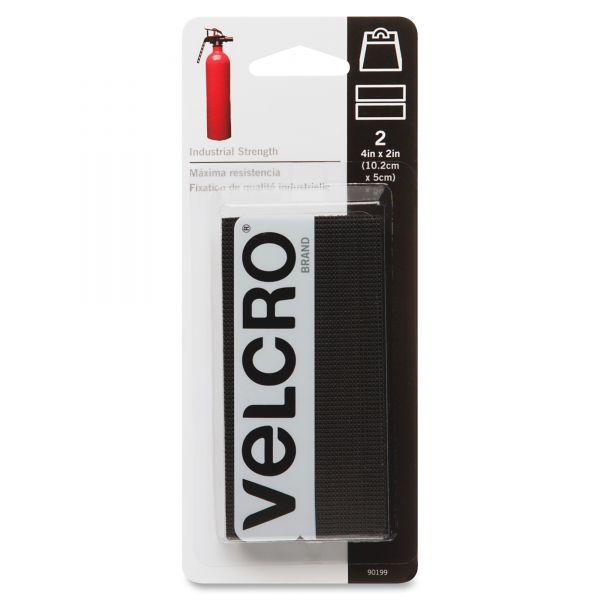 Velcro Industrial Strength Sticky-Back Hook & Loop Fastener Strips, 4 x 2, Black 2 to a pk