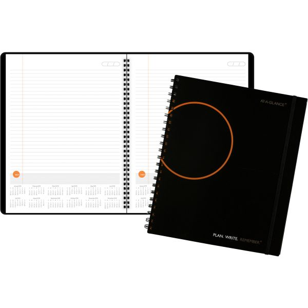 AT-A-GLANCE Plan. Write. Remember. Notebook with Reference Calendar, 8 9/16 x 11, Black
