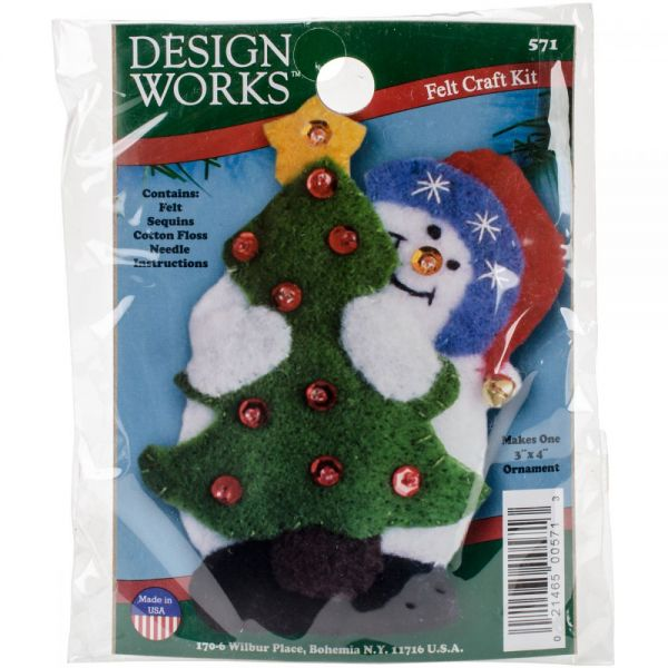 Snowman & Tree Ornament Felt Applique Kit
