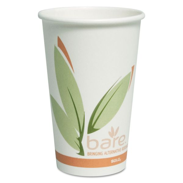 Dart Bare by Solo Eco-Forward Recycled Content PCF Paper Hot Cups, 16 oz, 300/Ct