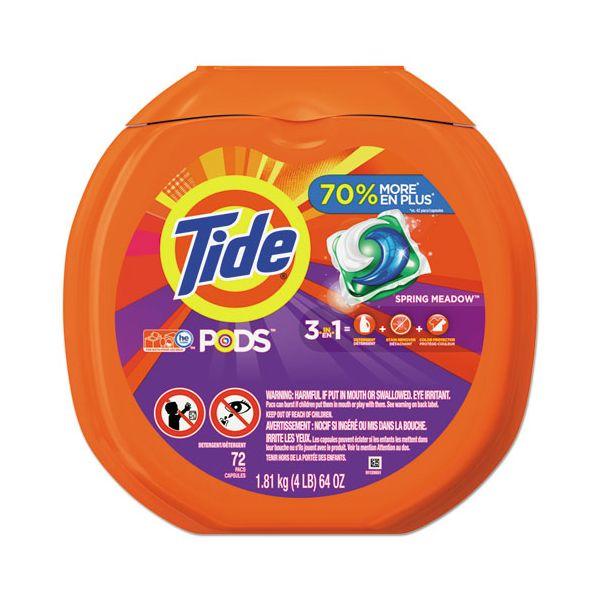 Tide Detergent Pods, Spring Meadow Scent, 72 Pods/Pack, 4 Packs/Carton