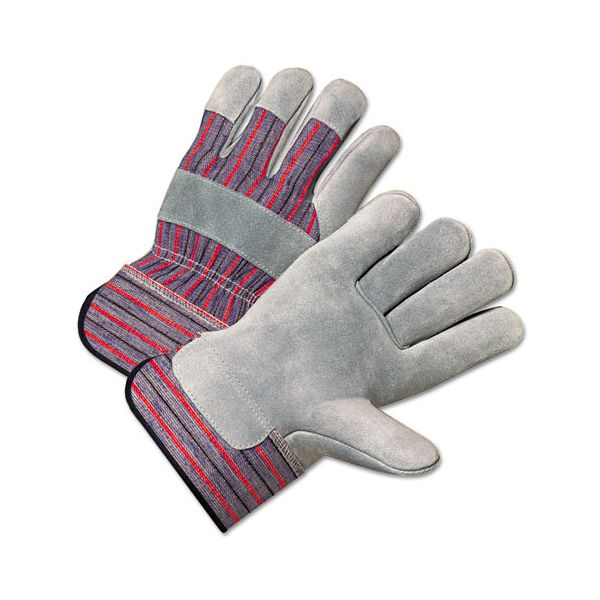 Anchor Brand 2000 Series Leather Palm Gloves, Gray/Red, Large, 12 Pairs
