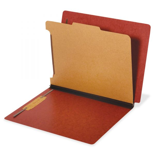 Pendaflex Dual Tab Classification Folder, 2 Sections, Top/End Tab, Legal, Red, 10/BX