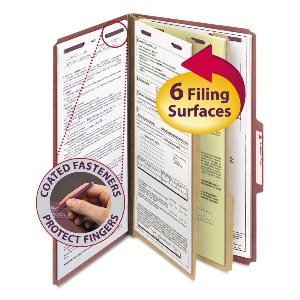 Smead Pressboard Classification Folders w/ Self Tab, Legal, Six-Section, Red, 10/Box
