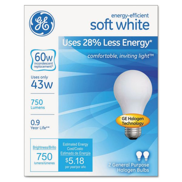 GE Halogen A-Line Bulb, A19, 750 lm, 2/Pack