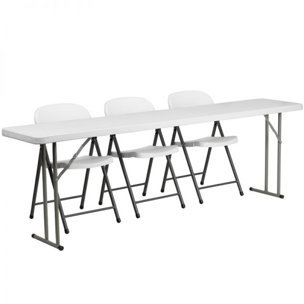 Flash Furniture 18'' x 96'' Plastic Folding Training Table with 3 White Plastic Folding Chairs