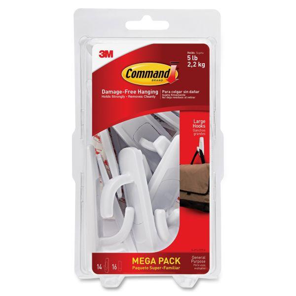 Command General Purpose Hooks, 5lb Capacity, Plastic, White, 14 Hooks, 16 Strips/Pack