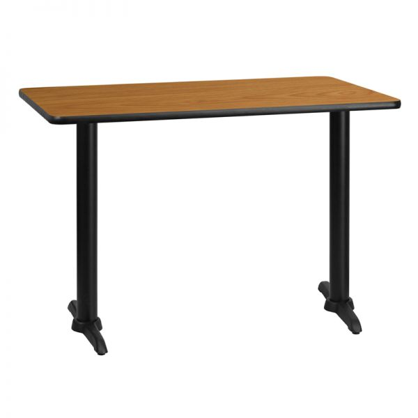 Flash Furniture 30'' x 42'' Rectangular Natural Laminate Table Top with 5'' x 22'' Table Height Bases