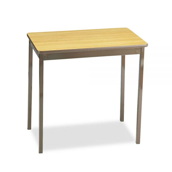 Barricks Utility Table With Steel Legs, Rectangular, 30w x 18d x 30h, Oak