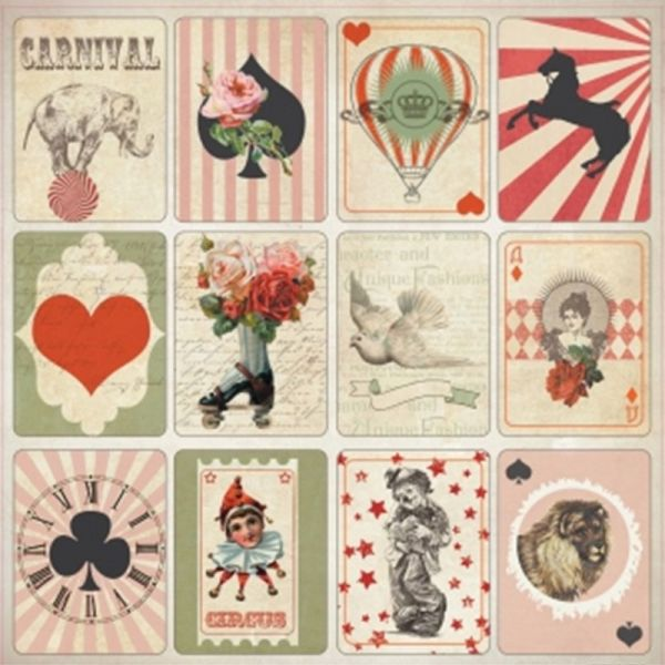 "ScrapBerry's Vintage Circus Single-Sided Cardstock 12""X12"""