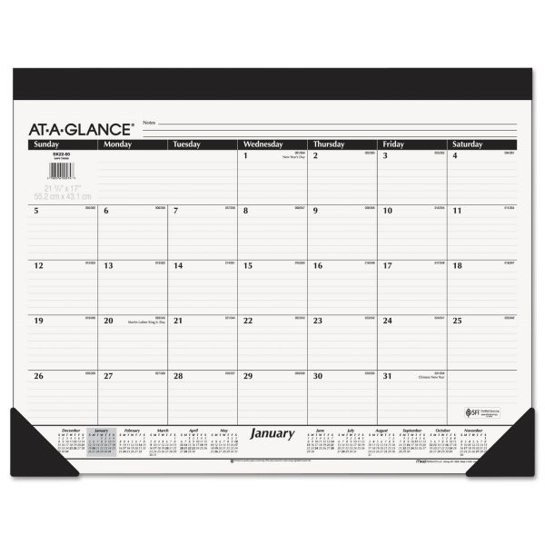 At-A-Glance Refillable Monthly Desk Pad Calendar