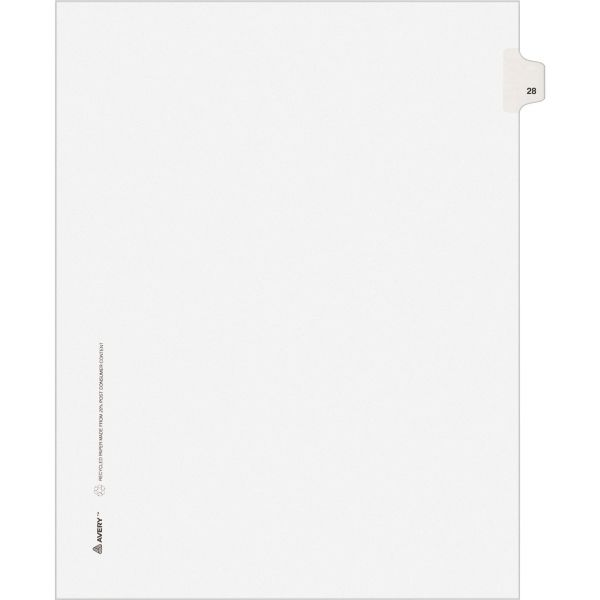 Avery Allstate-Style Legal Exhibit Side Tab Divider, Title: 28, Letter, White, 25/Pack