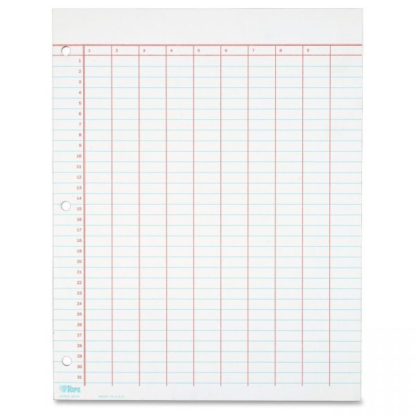 TOPS Data Pad w/Numbered Column Headings, 11 x 8 1/2, White, 50 Sheets