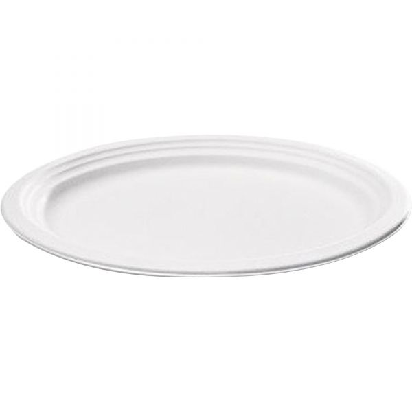 NatureHouse Compostable Sugarcane Bagasse Oval Plate, 9 x 6.5, White, 50/Pack