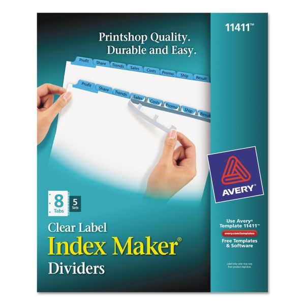 Avery Print & Apply Clear Label Dividers w/Color Tabs, 8-Tab, Letter, 5 Sets