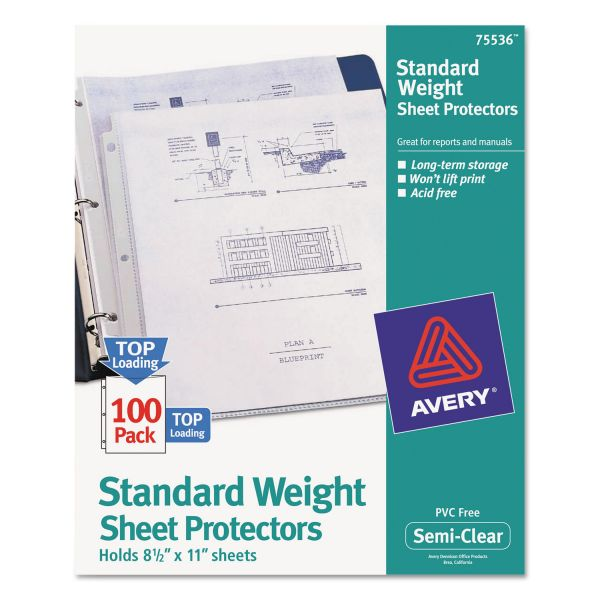 Avery Top-Load Sheet Protector, Letter, Standard, Semi-Clear, 100/Box