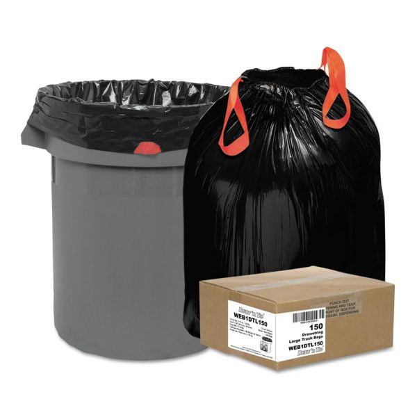 Draw 'n Tie Heavy-Duty Bags, 33gal, 1.2mil, 38 x 33 1/2, Black, 150/Box