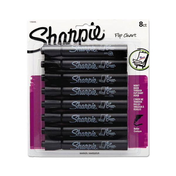Sharpie Flip Chart Marker, Bullet Tip, Black, 8/Card