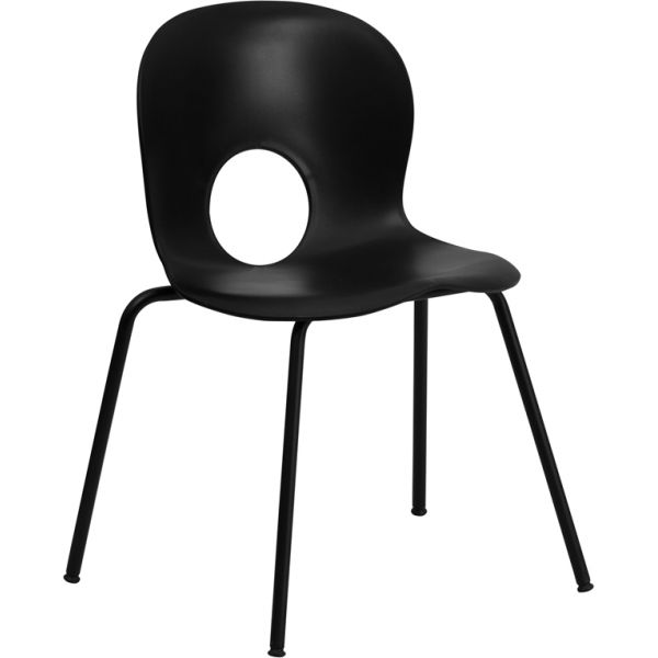 Flash Furniture HERCULES Series 770 lb. Capacity Designer Black Plastic Stack Chair with Black Frame
