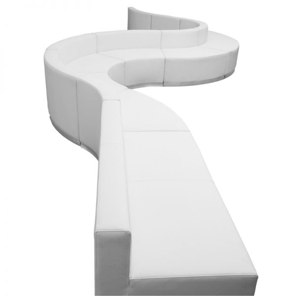 Flash Furniture HERCULES Alon Series White Leather Reception Configuration, 9 Pieces