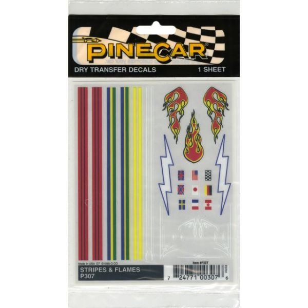 "Pine Car Derby Dry Transfer Decal 4""X5"" Sheet"