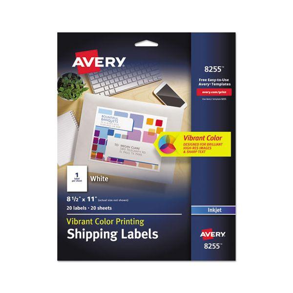 Avery Full-Sheet Vibrant Color-Printing Labels, 8 1/2 x 11, Matte White, 20/Pack