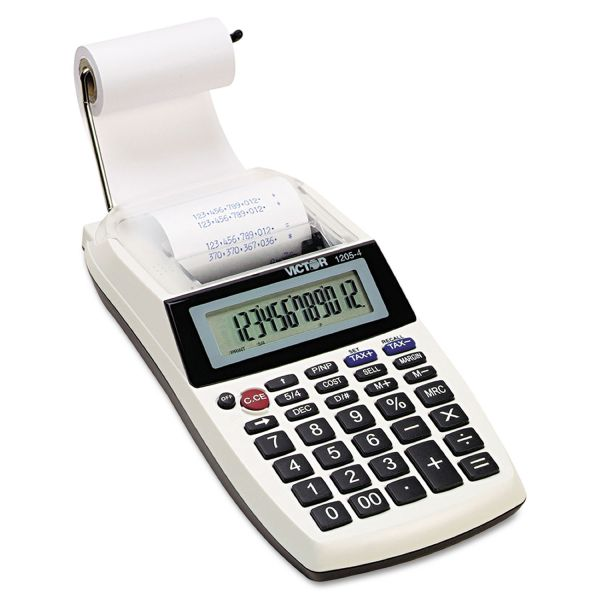 Victor 1205-4 12 Digit Portable Palm/Desktop Commercial Printing Calculator