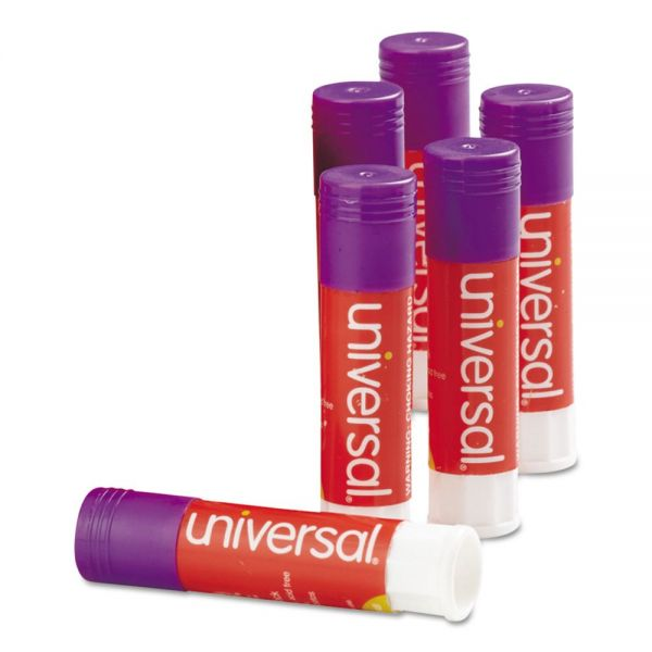 Universal Glue Stick, .28 oz, Stick, Purple, 12/Pack