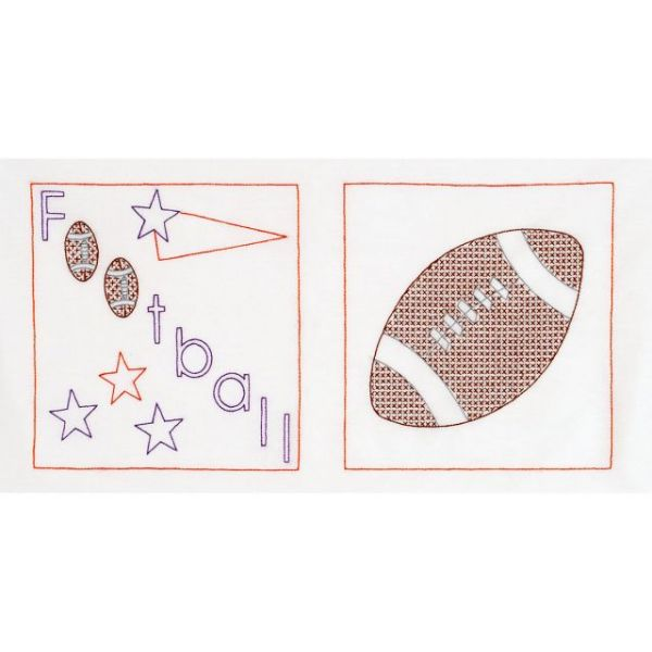 Stamped White Sport-Themed Quilt Blocks