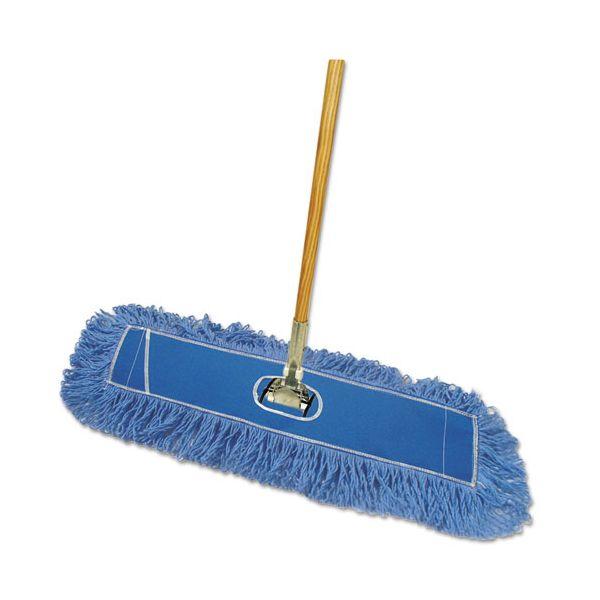 """Boardwalk Looped-End Dust Mop Kit, 36 x 5, 60"""" Metal/Wood Handle, Blue/Natural"""