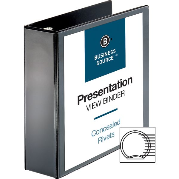 """Business Source Standard 3"""" 3-Ring View Binder"""