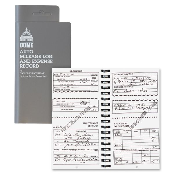 Dome Auto Mileage & Expense Record Book