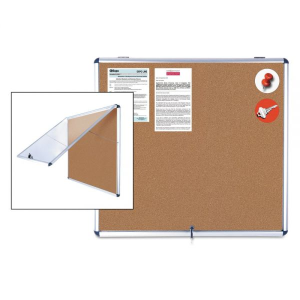 MasterVision Slim-Line Enclosed Cork Bulletin Board