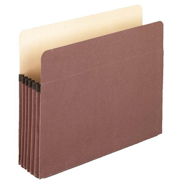 "Pendaflex Earthwise by Pendaflex 100% Recycled File Pocket, 5 1/4"" Exp, Letter, Red Fiber"