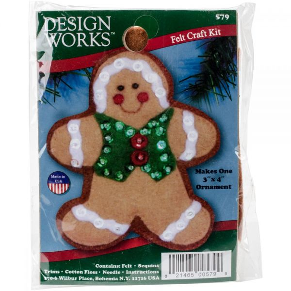 Gingerbread Man Ornament Felt Applique Kit