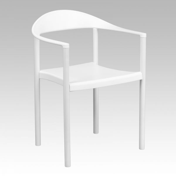 Flash Furniture HERCULES Series 1000 lb. Capacity White Plastic Cafe Stack Chair