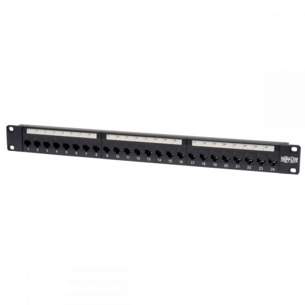 Tripp Lite 24-Port Cat6 Cat5 Patch Panel Feed Through Rackmount 568A/B RJ45 1URM TAA