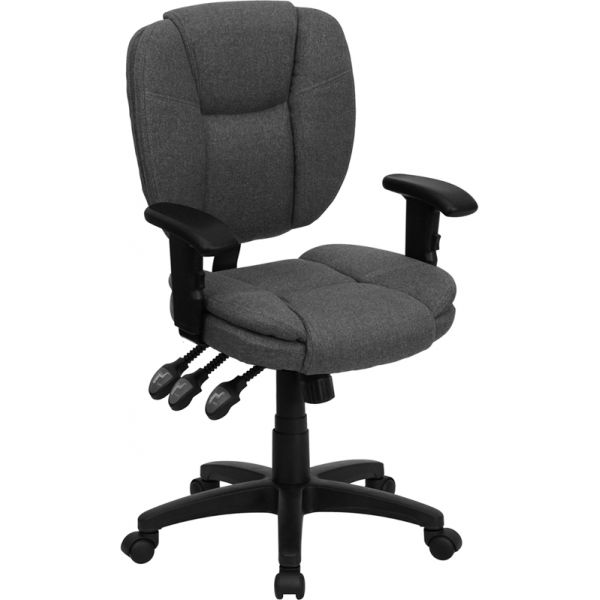 Flash Furniture Mid-Back Multi-Functional Ergonomic Task Chair with Height Adjustable Arms