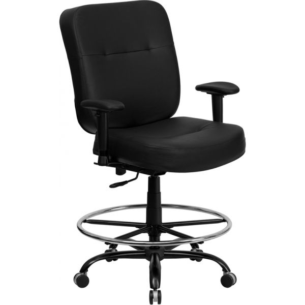 Flash Furniture HERCULES Series Big & Tall Leather Drafting Chair with Extra WIDE Seat and Height Adjustable Arms