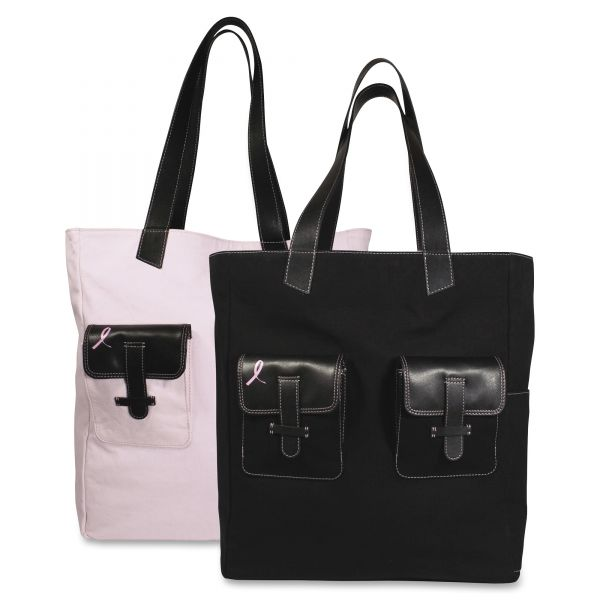 Day-Timer Pink Ribbon Canvas Tote, Reversible, 13 x 6 x 15, Black/Pink