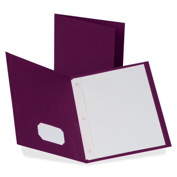 """Oxford Twin-Pocket Folders with 3 Fasteners, Letter, 1/2"""" Capacity, Burgundy, 25/Box"""
