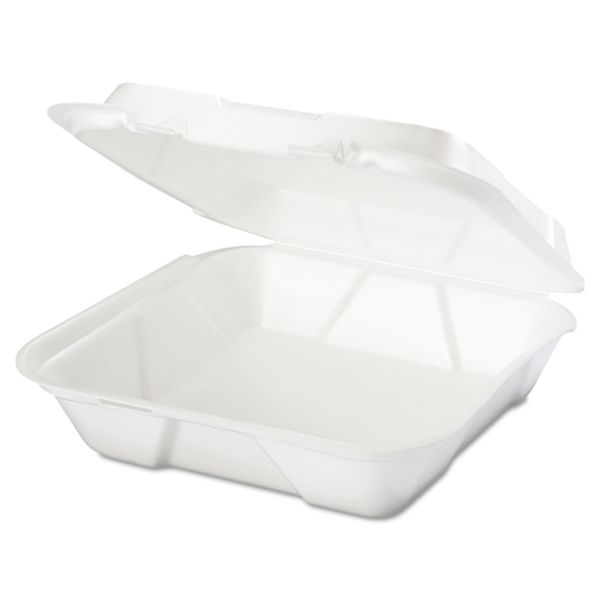 Genpak Snap It Foam Container, 1-Comp, 9 1/4 x 9 1/4 x 3, White, 100/Bag, 2 Bags/Carton