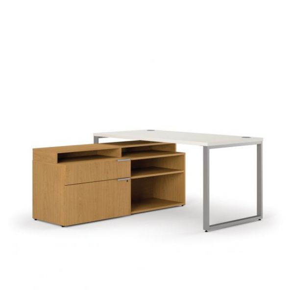 "HON Voi Mixed Material Compact L-Workstation | Desk, Low Credenza Left, Layering Shelf | 60""W x 60""D"